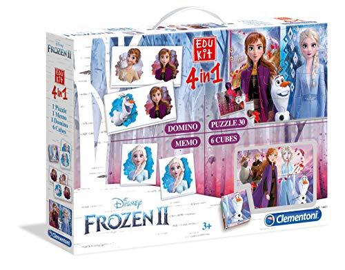 Clementoni-18059 - Edukit 4 en 1 - Frozen 2 - juego educativo con memo, puzzle, cubos con dibujos y dominó a partir de 3 años