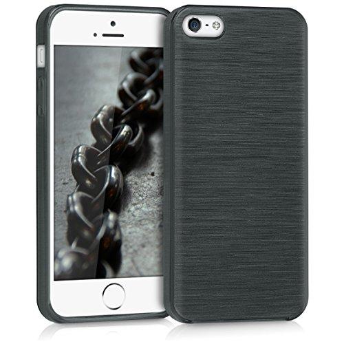 kwmobile Cover Compatibile con Apple iPhone SE (1.Gen 2016) / 5 / 5S - Custodia in Silicone TPU - Back Case Cover Protezione Posteriore Cellulare - Alluminio Spazzolato Antracite/Trasparente
