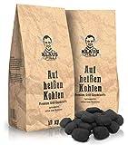 Klaus grillt auf heißen Kohlen Cocos Grillketts Premium Grillbriketts aus Kokos-Kohle - 20kg - extra Lange Brenndauer - ideal für Dutch Oven, Smoker Grillbriketts