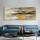 Pintura al óleo abstracta moderna de color amarillo negro sobre lienzo, póster nórdico, cuadro artístico de pared para la decoración del hogar de la sala de estar 40x120 CM (sin marco)