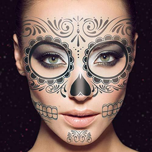 Frcolor 2Pcs temporäre Skelett Tattoos Tag der Toten liefert wasserdichte Gesicht Tattos für Halloween