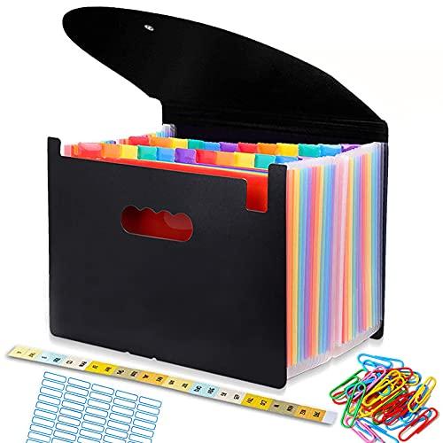 Trieur A4 range document, Classeur Rangement 24 Compartiments, Chemise Papier Administratif, Documents Organiseur de Fichier Extensible