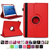 NAmobile Schutzhülle kompatibel für Huawei MediaPad T1 T2 T3 T5 10 Tablet Hülle Tasche Schutzhülle Case 360 Drehbar, Farben:Rot