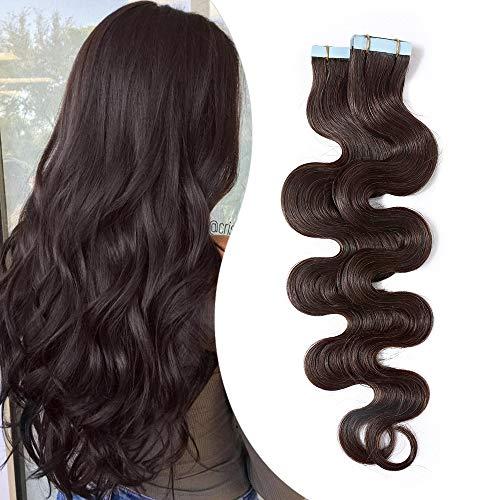 Elailite Extension Capelli Veri Biadesivo Tape Extensions Adesive 20 Ciocche Biadesive Ricci Mossi Remy Human Hair Umani 50g/Set, 40cm #2 Marrone Scuro