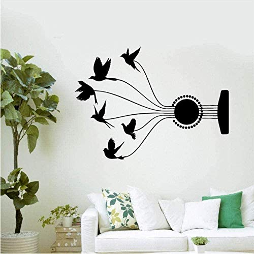 Adhesivo de pared de vinilo extraíble calcomanía de pared sala de estar guitarra música pájaro casa hermosa decoración pegatina 40X57Cm
