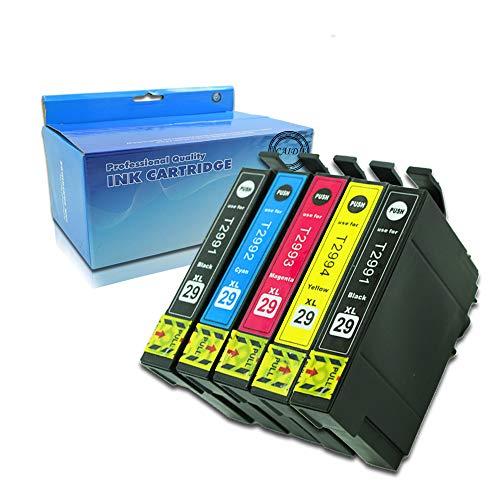 Caidi 29 XL Cartucho de Tinta Compatible Epson 29 29XL para Epson Expression Home XP-342 XP-245 XP-442 XP-235 XP-335 XP-432 XP-435 XP-332 XP-345 XP-247 XP-445(2Negro,1Cian,1Magenta,1Amarillo)