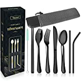 Service for 1: Comes with 1 Dinner Forks, 1 Tablespoons, 1 Knives, 1 Spork, 1 Chopsticks, 1 Cleaning Brush, 1 Straight Straw, 1 Bent Straw, 1 Carrying Case and 1 Carrying Pouch. Stainless steel: flatware set is rust resistant, ensuring you will use i...