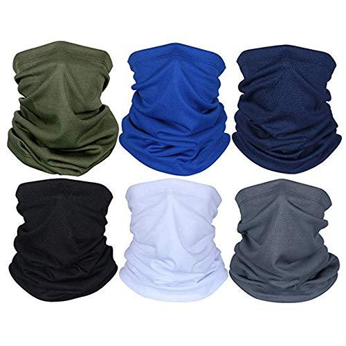 6 Stück Multifunktionstuch Bandana Elastische Maske Halstuch Schlauchtuch Damen Sturmmaske Herren Face Shield für Motorrad Fahrrad (Schwarz + Grau + Blau + Dunkelblau + Armeegrün + Weiß, 45cm * 25cm)