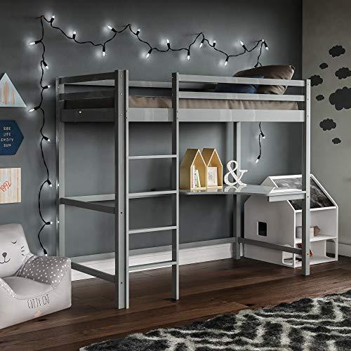 Vida Designs Sydney High Sleeper Bunk Bed, Solid Pine Wood Kids Loft Bed Frame With Desk, Perfect For Children, Single 3 Foot, Grey