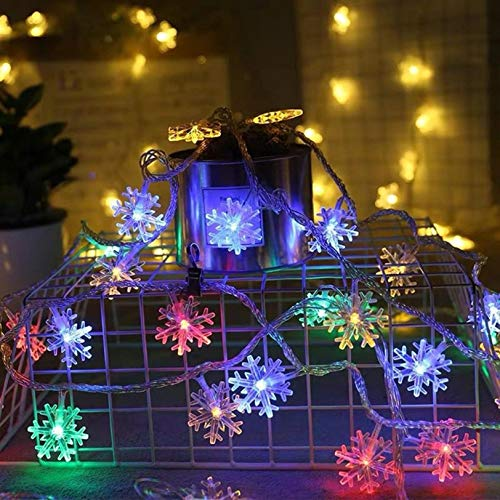 Christmas Snowflake String Lights, 50 LEDs 16.5ft Christmas Decorative Lights Battery Operated Fairy Lights Xmas Twinkle Lighting for Indoor Outdoor Holiday Party Decorations (Multicolor)