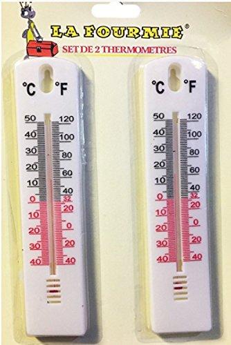 Lot de deux : Thermomètre intérieur & extérieur - 40° + 50° affichage Celciuis et Farenheit