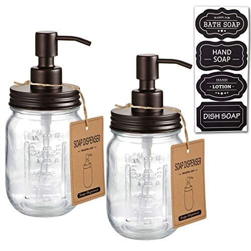 Mason Jar Soap Dispensers –Bronze -Rustproof 304 Stainless Steel Mason Jar Lid &Pump – Great for Hand Soap, Lotions,Dish Soap, Liquid Soap,Bath Soap-Farmhouse Décor for Bathroom & Kitchen sink(2 Pack)