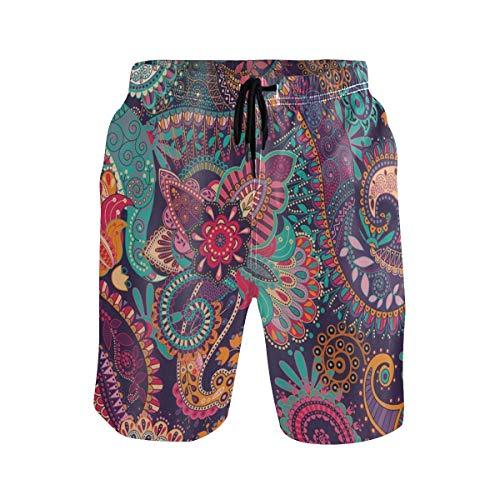 LISNIANY Badehose für Herren,Mandala Indian Bohemian Paisley Lila Blumen Boho Yoga Abstract Tribal Bunt,Badeshorts für Männer Surfen Strandhose Schwimmhose(XL)