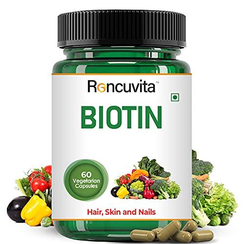 Roncuvita Biotin capsule for Healthy skin, Nails, Supplement for hair growth for woman & men, 60 Biotin veg capsules