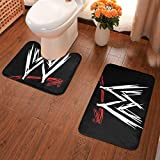 Yy10 Bathroom Rug Set 2 Piece, U-Shaped Toilet Pedestal Rug- WWE Logo Print Flannel Bath Mat Washable Non Slip, for Tub, Shower 23.6' X 15.7'