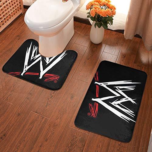 "Yy10 Bathroom Rug Set 2 Piece, U-Shaped Toilet Pedestal Rug- WWE Logo Print Flannel Bath Mat Washable Non Slip, for Tub, Shower 23.6"" X 15.7"""