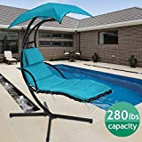 Hammock Chair Hanging Chair Lounge Chairs Outdoor Porch Swing Arc Stand with Canopy Umbrella and Pillow, 280 LBS Capacity, Heavy Duty Large Air Floating Chaise Chair for Patio Backyard Deck - Blue