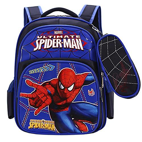 Nesloonp Sac à dos Spiderman, sac à dos, sac à dos garçon, sac à dos enfant 3D, cartable étudiant Spiderman bleu Spiderman cartable étanche 41x31x13cm