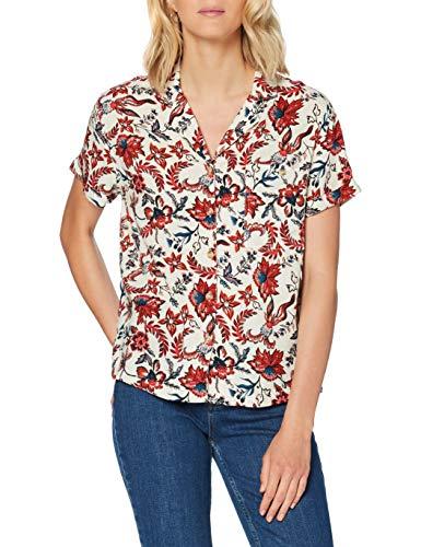 Superdry Damen Resort Shirt Hemd, Weiß (White AOP N4A), M (Herstellergröße:12)