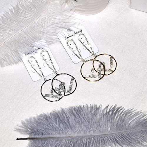 Stahl Ohrringe Damenvintage Runde Buchstabenform Strass Luxus Baumeln Ohrringe Gadgets Für Frauen HochzeitSilber