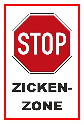 Aufkleber - Stop - Halt - Zicken-zone – 15x10cm – S00357-007-B +++ in 20 Varianten erhältlich