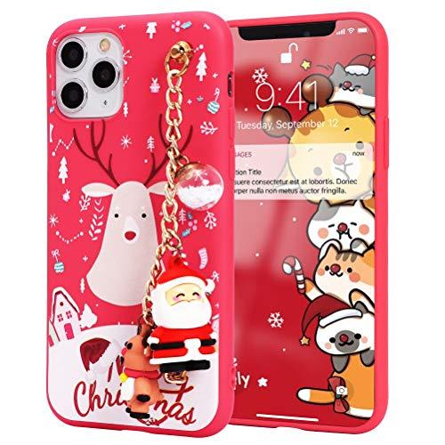 Yoedge per iPhone 11 Pro MAX Cover, Silicone TPU Cartoon Christmas Alce modello,Bracciale Supporto per polsino Cover posteriore Custodia 3D Natale Bambola Custodia,per iPhone 11 Pro MAX 6,5',Cervo 4
