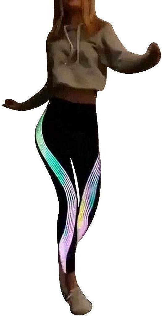 Leggings Mujer Fitness 2020 SHOBDW Tira Reflectante Arco Iris De Neón Leggings Deporte Mujer Gimnasio Correr Yoga Deportivos Pantalones Chandal Mujer Baratos