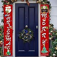 メリークリスマスバナーサイン、屋外クリスマスポーチデコレーション、正面玄関のクリスマスハンギングデコレーション、屋内クリスマスデコレーションウォールパーティーサイン,Red 2