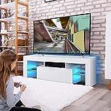 Cocoarm Fernsehschränke Hochglanz LED Moderne TV Lowboard Fernsehschrank Schrank Fernsehtisch Weiß Hängeschrank Wohnzimmer Lowboard Tisch mit LED Streifen Fernbedienung 110V ~ 240V/130 x 35 x 45 cm