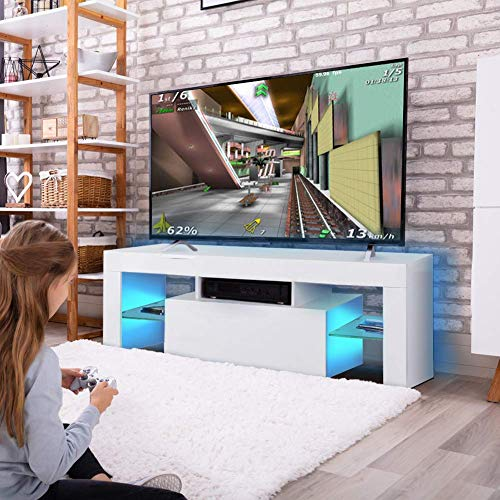 Cocoarm Fernsehschränke Hochglanz LED Moderne TV Lowboard Fernsehschrank Schrank Fernsehtisch Weiß Hängeschrank Wohnzimmer Lowboard Tisch mit LED Fernbedienung 110V ~ 240V/130 x 35 x 45 cm