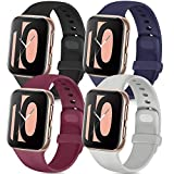 Tobfit 4 Pack Compatible with Apple Watch Band 38mm 42mm 40mm 44mm, Soft Silicone Replacement Band Compatible with iWatch Series 6 5 4 3 SE (Black/Gray/Navy Blue/Wine Red, 38mm/40mm S/M)