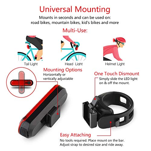 Volcano Eye Rear Bike Tail Light 2 Pack, Ultra Bright USB Rechargeable Bicycle Taillights, Red High Intensity Led Accessories Fits On Any Bike or Helmet. Easy to Install for Cycling Safety Flashlight