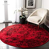 Safavieh Adirondack Collection ADR101F Red and Black Oriental Vintage Distressed Round Area Rug…