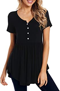 An Ping Womens Fashion Solid Short Sleeve Round Neck Button Loose Irregular Hem Pleated T-Shirt Tunic Tops Blouse