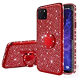 Nadoli Glitzer Hülle für Galaxy Note 10 Lite,Kristall Diamant Strass Bumper mit 360 Ring Kickstand Silikon Schutzhülle Handyhülle Frauen Mädchen für Samsung Galaxy Note 10 Lite,Rot
