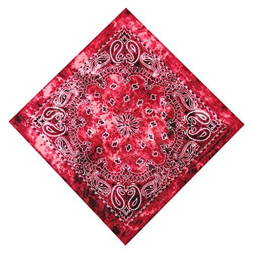 GUMEI Gradient Tie-Dye Étnico Paisley Estampado Floral 50x50CM Unisex Algodón Deporte Bolsillo Cuadrado Bufanda Diadema Bandana Pulsera de Hip-Hop