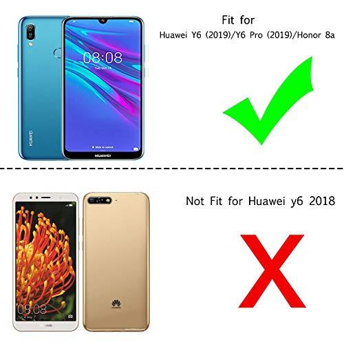 LeYi Hülle Huawei Y6 2019/Honor 8A Glitzer Handyhülle mit Panzerglas Schutzfolie(2 Stück),Cover Bumper Schutzhülle für Case Honor 8A/Y6 2019/Y6 Pro 2019 Handy Hüllen ZX Gradient Purple Blue