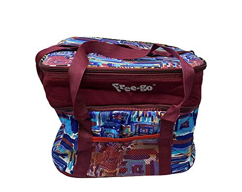 Vetrineinrete Bauletto termico con manici e tracolla per mare campeggio doppio scomparto borsa frigo porta pranzo bevande termico 87747 (Bordeaux)
