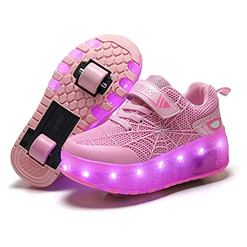 HANHJ Chicas Jóvenes Moda LED Rodillo Patines con Ruedas Ajustables Automáticamente Zapatos Patineta Zapatos Doble Rueda Retráctil Running Shoes Sneakers para Niños Niñas,Pink-35