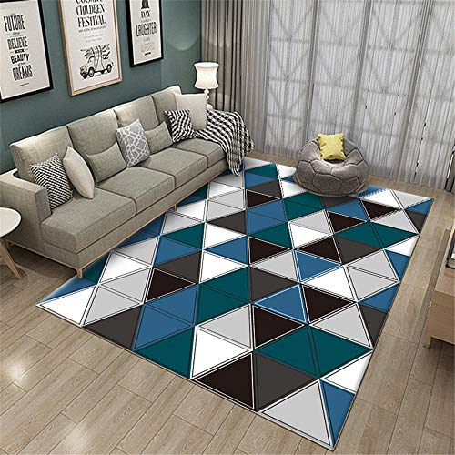 Kunsen alfombras Salon Grandes Alfombra Grande Salon Alfombra de Sala de Estar a Cuadros geométricos a Juego Azul Gris Blanco moqueta 180X250CM 5ft 10.9' X8ft 2.4'