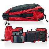 Packtaschen Kompression für Koffer und Rucksack [7-teilig] mit Packbeutel - mehr Platz im Koffer oder Backpack durch Kompression – Packwürfel Kompression für Deine Reise Ausrüstung (rot)