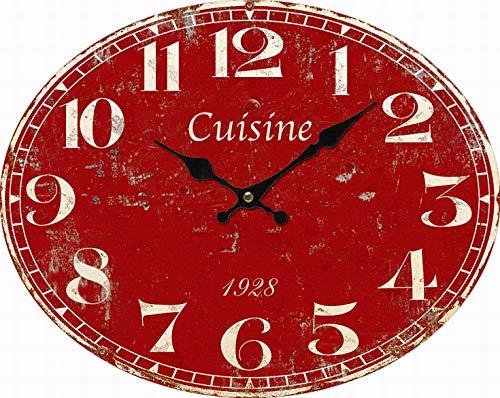 Horloge Pendule cuisine rouge