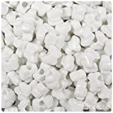 BEADTIN Bright White Opaque 13mm Butterfly Pony Beads (250pc)