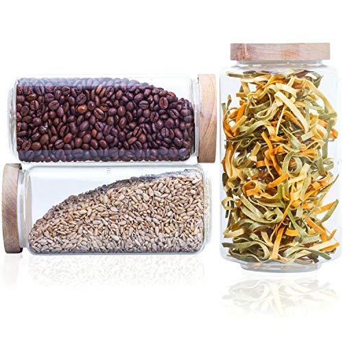 Econovo® Vorratsgläser eckig Set mit Deckel (3-teilig) aus mundgeblasenem Borosilikatglas, stapelbar und luftdicht, Vorratsdosen Glas-Behälter Set eckig für Lebensmittel groß und klein 1200ml