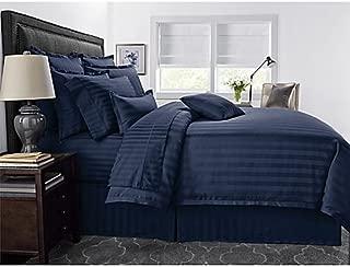 Wamsutta 500-Thread-Count PimaCott Damask Stripe Full/Queen Comforter Set in Navy