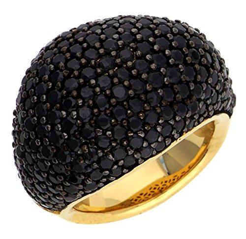 ESPRIT Glamour Damen-Ring ES-NYXIA-BLACK GOLD teilvergoldet Spinell schwarz Gr. 54 (17.2) - ESRG02034D170