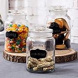 MyGift 34oz / 40oz / 50oz Set of 3 Vintage Glass Storage Canister Jars with Airtight Lids & Chalkboard Labels
