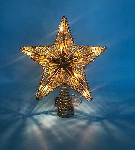 LAWOHO Cimier de Sapin de Noël en Forme d'étoile dorée Scintillante, 25,4 cm, Convient pour Sapin de Noël de Taille générale.