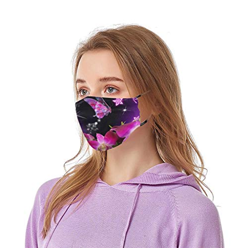 JSPOYOU Adult Unisex Washable Dust Anti-ultraviolet Butterflies Flowers Filter