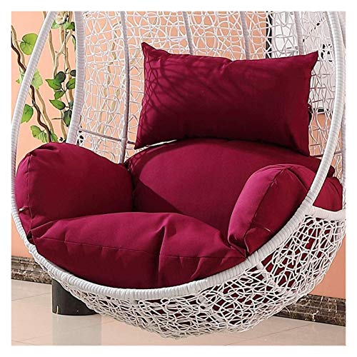 ZHZH Outdoor/Indoor Furniture Chair Cushion Hanging Relax Chair Pads, Garden Rattan Swing Chair Egg Chair Cushion/Cover-Red (Color : Dark Red)